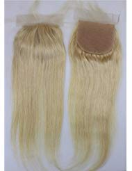 Dream Beauty Dreambeauty 4×4 Lace Closure Silk Base #613 Color Silk Straight Brazilian Virgin Human Hair Lace Closure Bleached Knots with Baby Hair Free Part for Women (14 inch)
