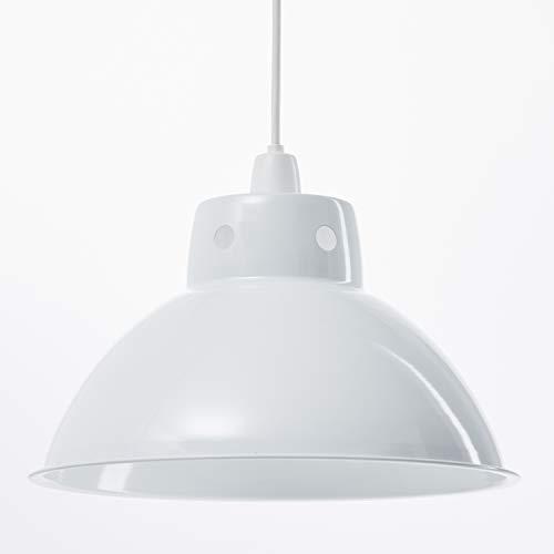Funky Cafe Style Pendentif au plafond rétro en métal abat-jour en métal, Look Vintage industriel moderne, 300mm de diamètre - Blanc