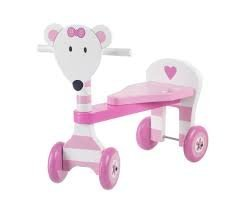 Mouse Trike, Girls pink mouse wooden ride on trike, age 1