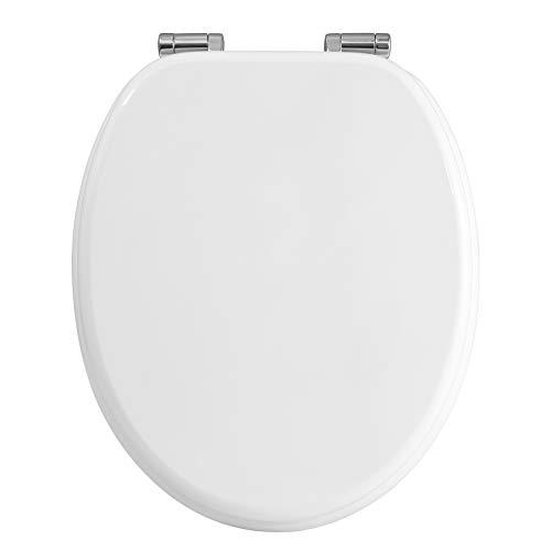 WOLTU WS2878 WC Sitz mit Absenkautomatik, MDF-Holzkern, aus Zink verchromt Scharniere, Klodeckel Toilettenbrille