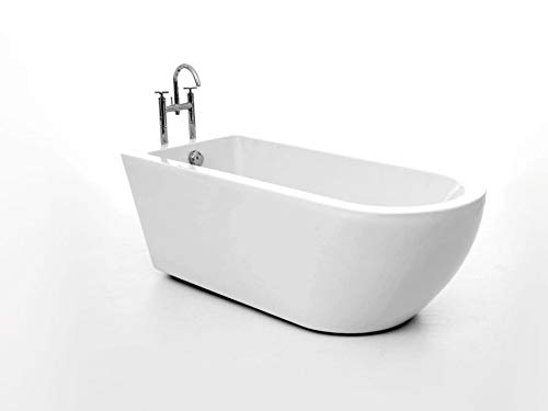 Freistehende Badewanne Acryl - oval weiß - 169x74 - Modell Santa Cruz glänzend