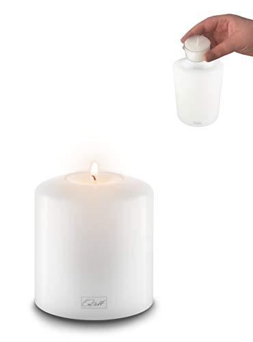 Qult Farluce Classic - ø 8cm • Teelichthalter in Kerzenform • Dauerkerze • Kunststoffkerze in Kerzenoptik • Teelichtkerze mit Teelichteinsatz • inkl. Teelicht, Höhe:9cm