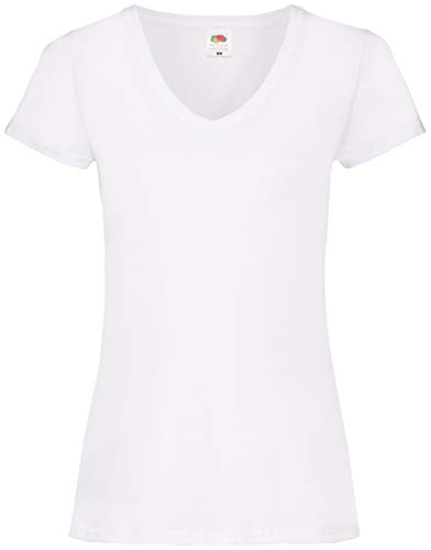 Fruit of the Loom Damen T-Shirt Valueweight V Neck Lady-fit, Weiß (Weiß 30), Medium