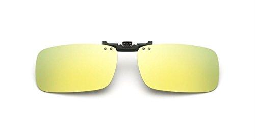 arisierte Unisex Sonnenbrillen Klipp auf Sonnenbrille Gläsern Brille Sun-ClipON1302 (Gold Quecksilber) (Nur geeignet für die Gläser mit Brücke Dicke weniger als 2,5 mm) (Gold Quecksilber)