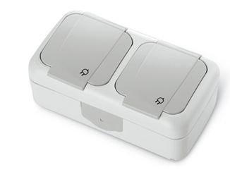 Panasonic, Viko, 2fach Steckdose, Schutzklasse IP54 grau