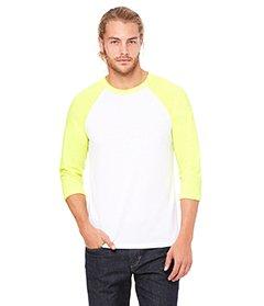 Bella+Canvas: Triblend 3/4 Sleeve Baseball T-Shirt 3200, Größe:L;Farbe:White/Neon Yellow