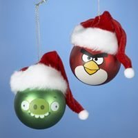 Angry Birds with Santa Hats Ornament Set by Kurt Adler