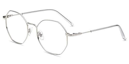 Firmoo Polygon Brille Damen Blaulichtfilter Brille Anti Blaulicht Computer Brille ohne Sehstärke Anti Augenmüdigketi, Kopfschmerzen, Blendfrei für PC Handy Fernseher, Schicke Brillenfassung Herren
