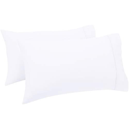 AmazonBasics - Set de 2 fundas de almohada de 400 hilos, 50 x 80 cm - Blanco