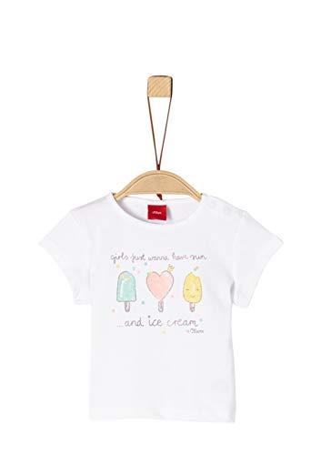s.Oliver Baby-Mädchen 59.906.32.5741 T-Shirt, Weiß (White 0100), Herstellergröße: 74