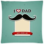 Home Decor Personalized I Love My Dad With Gentleman Mustaches Zippered Throw Pillow Cover Cushion Case 18x18 (one side)