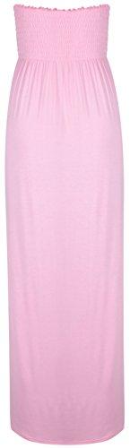 Neue Oops Outlet Damen Bandeau-Top, trägerlos gekräuselter elastischer Scheren-Motiv, Maxi-Kleid, trägerlos, Babyrosa