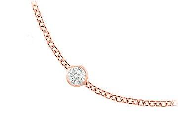 Diamonds Necklace in 14K Rose Gold Bezel Set 2.50 ct.tw