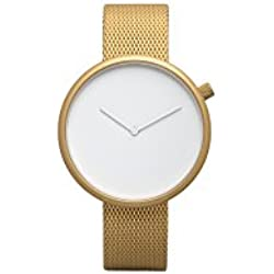 Bulbul Ore Unisex Quartz Watch with White Dial Analogue Display and Gold Stainless Steel Gold Plated Bracelet O08