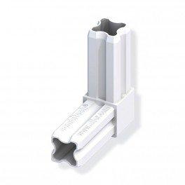 Connecteur équerre 90°C blanc 23.5mm pour tube alu et pvc