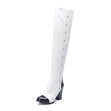 KeKaFu Women's Shoes Chunky Heel Riding Boots/Round Toe Boots Dress Black/White