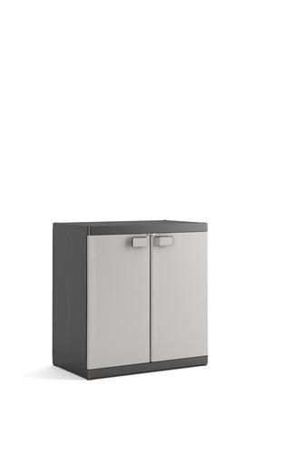 Kis 9695000 0270 01 Armoire Basse Logico XL Noir-Gris Clair, Plastique, 89 x 54 x 93 cm