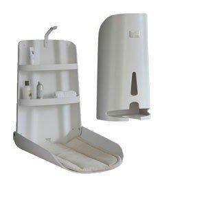 Juego de madera babystation Nathi + dispensador de pañales + 2x cambiador–Diseño blanco