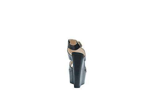 JustGlam - Sandali punta aperta con fascie e zeppa super leggera must have new collection made in italy Nero