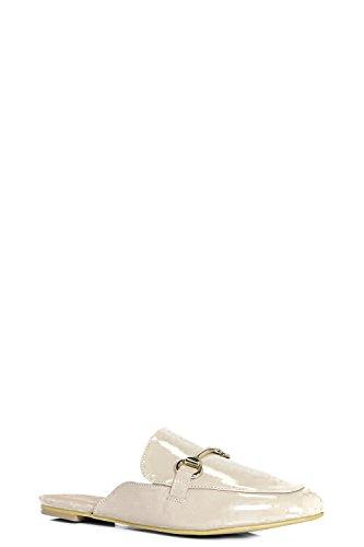 Damen Nackt Evie Slipper Mit Metallischer Applikation Nackt