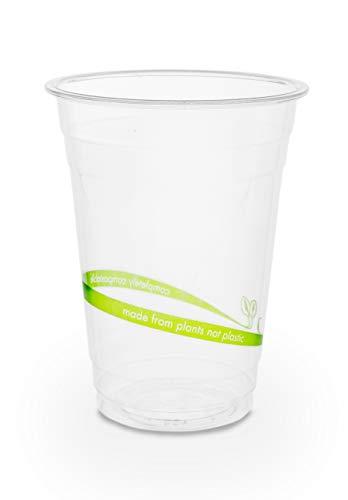 Plantvibes ® 50 transparente Bio Einwegbecher | 100% kompostierbar & biologisch abbaubar | stabile Trinkbecher perfekt als Partybecher für Kaltgetränke | Bio Einweg-Geschirr