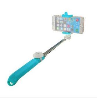 MASUNN Integrato Android Ios Sistema Palmare Selfie Stick Otturatore Bluetooth Estensibile Monopiede Per Telefono-Blu