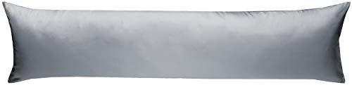 Bettwaesche-mit-Stil Mako-Satin Seitenschläferkissen Bezug aus 100% Baumwolle (Baumwollsatin) Uni/einfarbig (40 cm x 145 cm, Grau)
