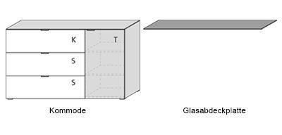 Kommode in weiß mit sandfarbenem Glas, mit 1 Klappe, 2 Schubkästen und 1 Tür, dahinter 2 Einlegeböden, Maße: B/H/T ca. 163/98/50 cm - 2
