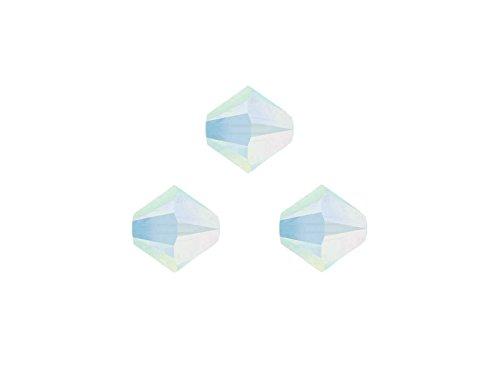 Creative-Beads Swarovskiperlen, Doppelkegel, konisch, 5328, 3 mm, 50 Stück, white opal, aktuelle Modefarben für selbstgemachten Schmuck