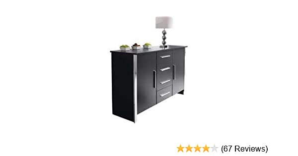 Black And Chrome Modern 2 Door 4 Drawer Sideboard