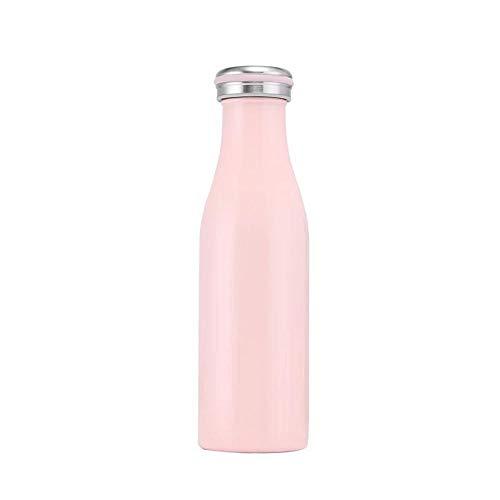 DZSLTC Trinkflasche Edelstahl Wasserflasche, Vakuum-Isolierte BPA-frei auslaufsicher Thermosflasche, 24 Std Kühlen & 12 Std Warmhalten@Pink_500ml (Recyclebare Trinkbecher)
