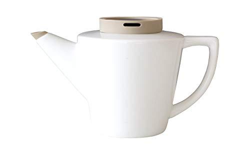 Viva Scandinavia 9101137 THEIERE en Porcelaine 1 Litre avec Couvercle en Silicone Kaki Blanc, 20,5 x 14,5 x 15 cm