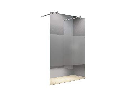 duschwand freistehend Freistehende 140x200 cm Duschabtrennung LILY Frost-Mitte mit Runder Haltestange, Milchglas, Klarglas, Duschwand, Walk-In Dusche, 10 mm ESG Sicherheitsglas