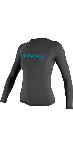 O';Neill Damen Basic Skins Langärmelige Crew Rash Weste Top Graphite - UV-Sonnenschutz und SPF-Eigenschaften