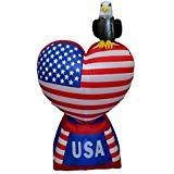 BZB Goods Aufblasbares Liebesherz mit amerikanischer Flagge und baldem Adler, 1,5 m hoch