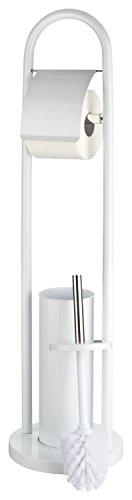 CH Handel Toilettenpapierhalter Und Klobürstenhalter   WC Bürsten Garnitur  Stehend   2 In 1, Farbe:weiß