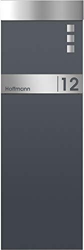 Frabox® Standbriefkasten NAMUR in anthrazitgrau RAL 7016 / Edelstahl mit Hausnummer & Namen