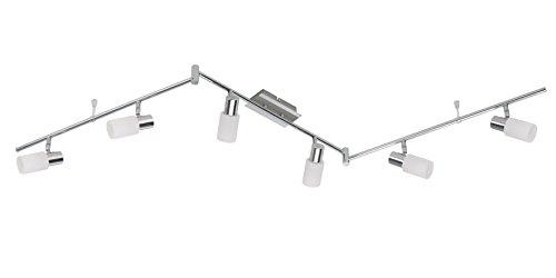Briloner Leuchten LED Spot, Deckenleuchte, Deckenstrahler, 6x G9 3W, 330lm, inkl. Wippschalter, Strahler dreh- und schwenkbar, chrom/alu 2864-068 -