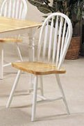 Set of 2 Natural & White Finish Windsor Wood Dining Chair/chairs by ACME (Dining Chair Windsor)
