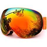 Meetlocks Skibrille, OTG, Dual-HD-Scheiben, Anti-UV, Anti-Fog Gläser, 100% UV400-Schutz, große Brillefläche sorgt für perfkte Sicht, für Damen und Herren
