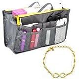"""Handtasche Organizer Tasche Handtaschenordner ToolInhalt 28.5x17x8.5 Cm 4 Farben (grau)+Armband """"Unendlichkeit"""""""