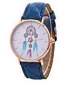 Nordvpn Damenuhr, Modell Windspiele, Uhren, Damenarmbänder, Denim-Uhren, wunderschön plattiert, Damenschmuck, Geschenke, Teenager- Mädchen, blau