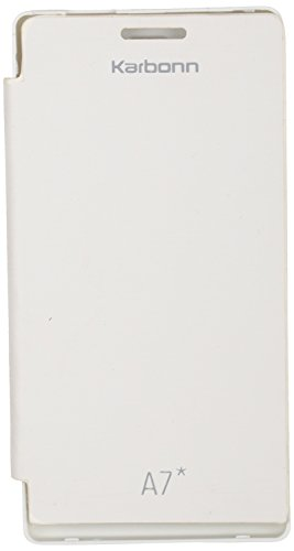 iCandy™ Synthetic Leather Flip Cover For Karbonn Smart A7 Star - WHITE  available at amazon for Rs.170