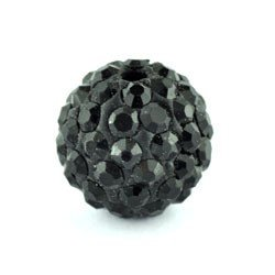 12° mm Shamballa-Stil Schwarze Perlen *, 10 Stück