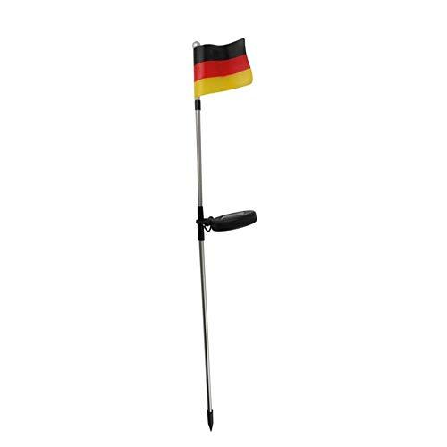 Harms Import Deutschlandfahne mit Solar-Beleuchtung | mit Erdspieß | 1x High-Power-LED | witterungsbeständig | Höhe: 81,5cm | Deutschland Flagge Solar EM WM