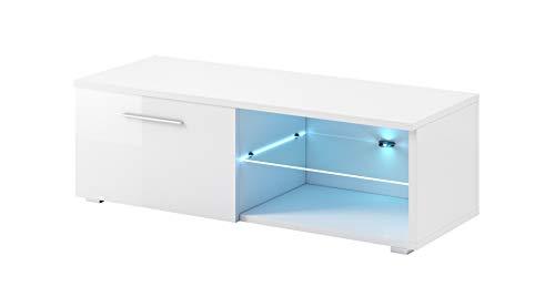 E-com - Meuble TV Armoire Tele Table Television Samuel avec lumieres LED Bleues - 120 cm - Blanc