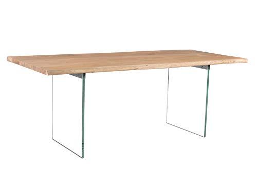 Invicta Interior Massiver Esstisch Mammut 240cm Akazienholz mit transparentem Glasgestell Tisch Konferenztisch