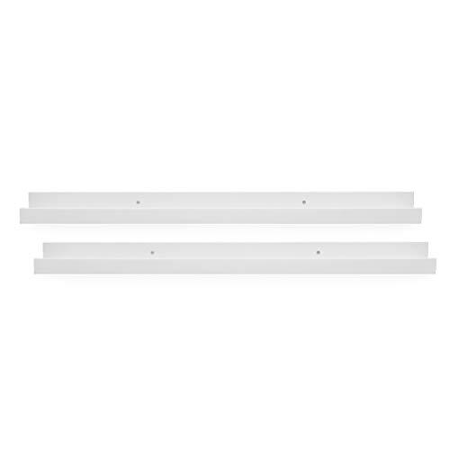 PHOTOLINI 2er Set Bilderleiste Weiss 70 cm aus MDF inkl. Montagematerial | Galerieboard | Regalboard | Wandregal | Bilderboard