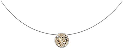 petra kupfer Enge Damen Kette Anhänger Schwebender Stein Echter Swarovski Kristall beige stah1-light-silk