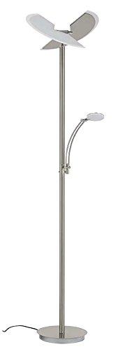 Briloner Leuchten LED Stehlampe mit Leselampe, 2-teilig kippbarer Leuchtenkopf, stufenlos dimmbar, moderne Wohnzimmerlampe, 30 W + 6 W, Höhe: 180 cm